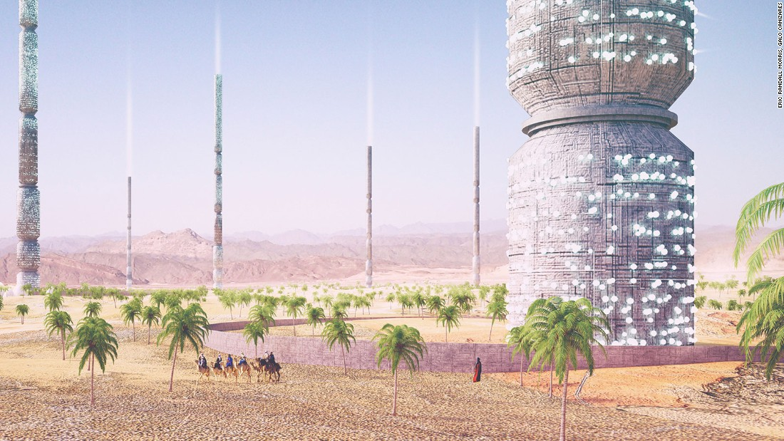 These 1km tall multi-functional towers, by American designers Eric Randall Morris and Galo Canizares, can produce and collect water, as well as pollinate their surrounding landscape, turning the land into an oasis.