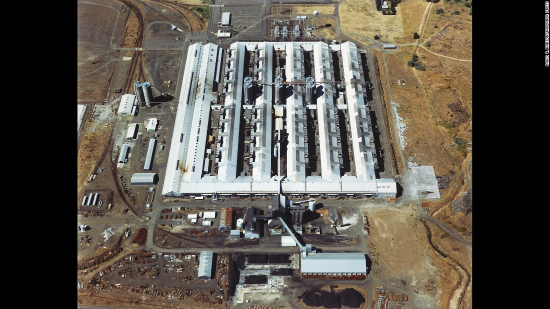 "The Superfund site of the Martin-Marietta Aluminum Co. is photographed in The Dalles, Oregon, in 1986. ""Smelting operations took place at the site between 1958 and 1987,"" <a href=""https://cumulis.epa.gov/supercpad/cursites/csitinfo.cfm?id=1000424&msspp=med"" target=""_blank"">according to the EPA.</a> ""Site activities and years of improper waste disposal contaminated soil, sediment and groundwater with hazardous chemicals. Following cleanup, EPA took the site off the Superfund program's National Priorities List in 1996. Operation and maintenance activities and monitoring are ongoing."""