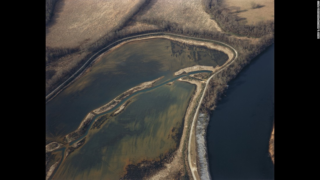 Waste ponds and the Savannah River are photographed at a Superfund site in Augusta, Georgia, in 1986.