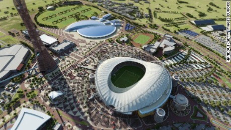 n this handout image supplied by Qatar 2022, this artists impression represents Khalifa International Stadium. Qatar will host the FIFA World Cup in 2022.