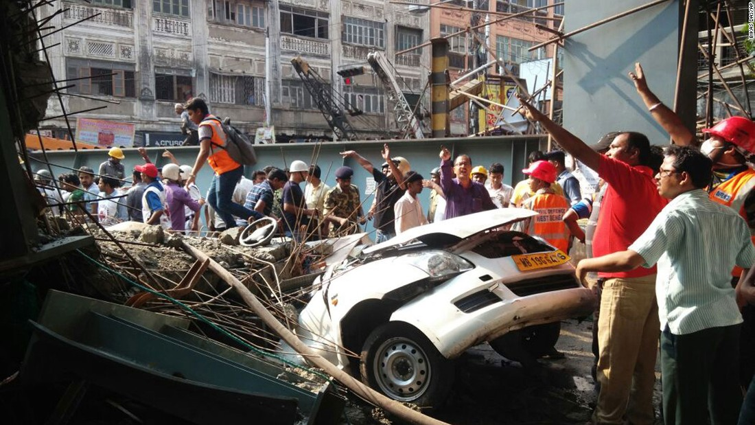 The rubble crushed cars.