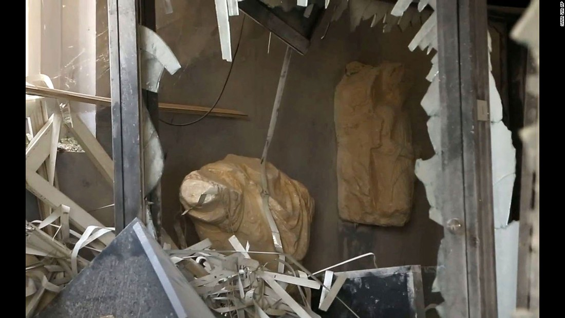 Damage inside the Palmyra Museum.