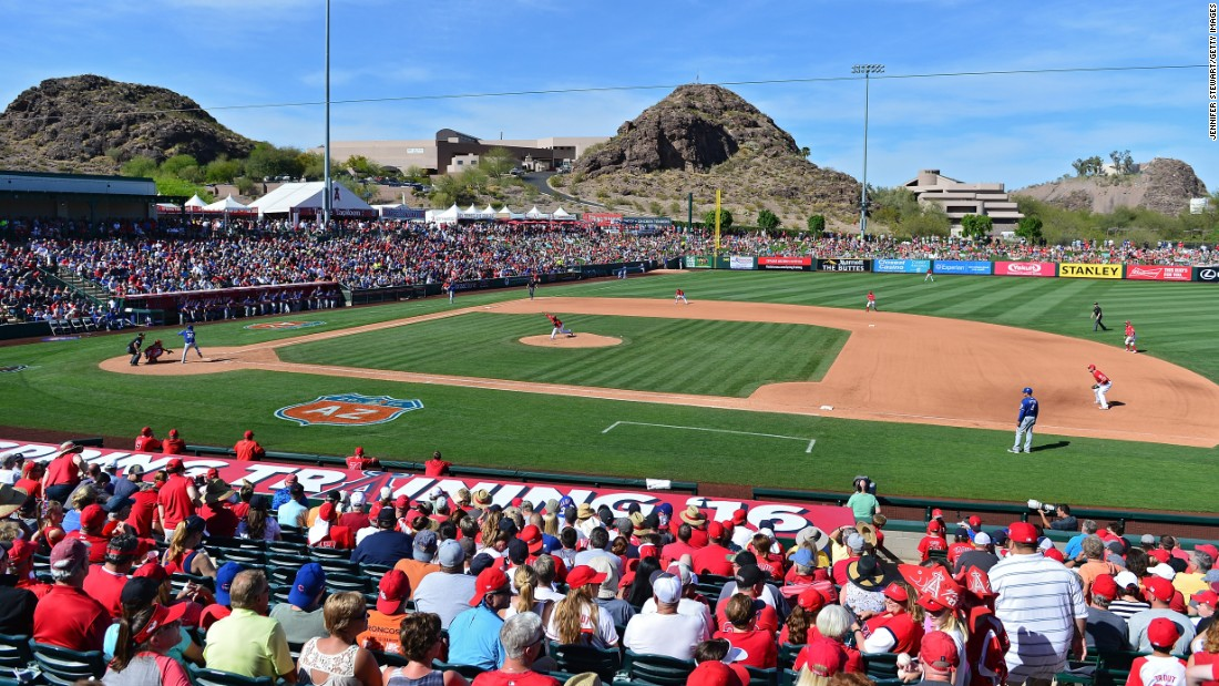 The Texas Rangers play the Los Angeles Angels in Tempe, Arizona, on March 13.