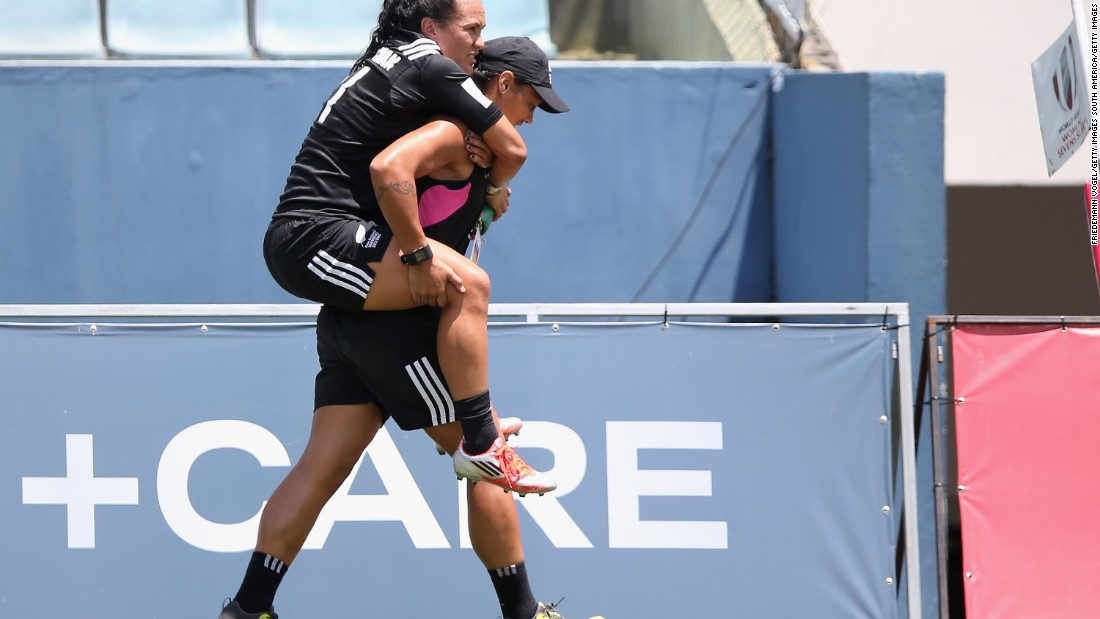 The Black Ferns are yet to hit top gear, with star players Woodman and McAlister suffering injuries. Here Woodman is carried off in Sao Paulo in February.