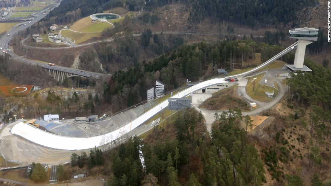 Along with the ramp itself, the Austrian ski jump includes a cafe and viewing terrace.