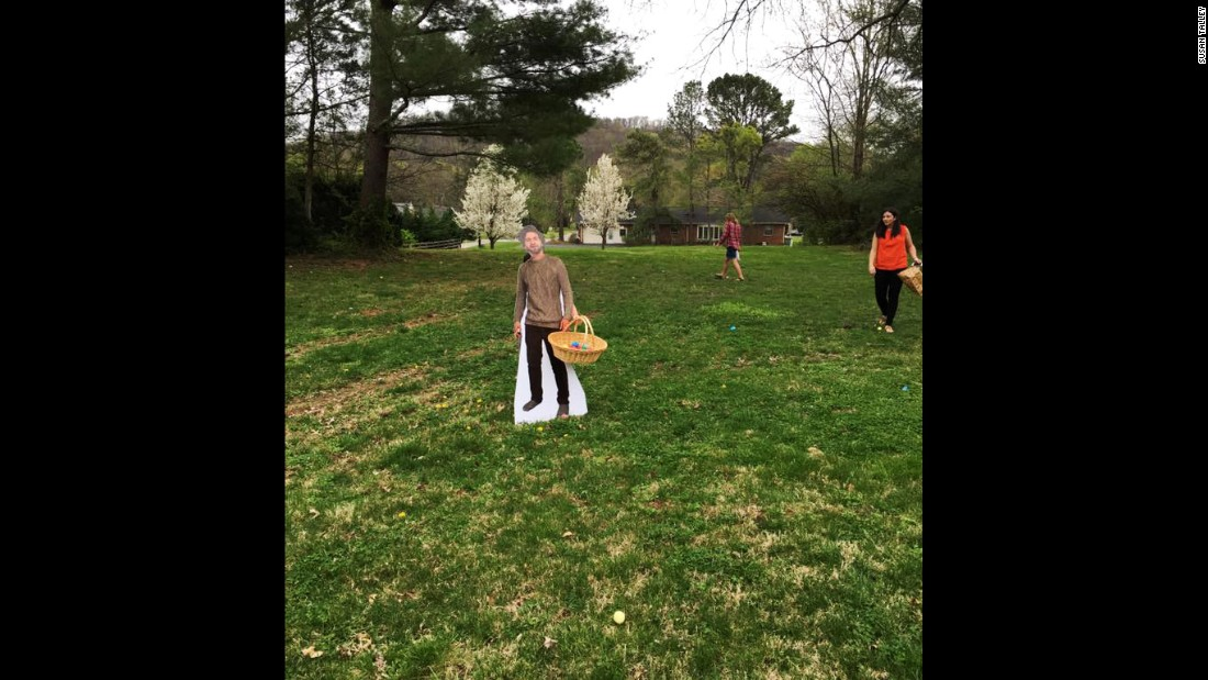 """Flat Dalton"" even participated in the egg hunt and made off with a basket full of eggs."
