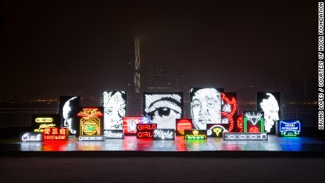 It moves, it glows: Vhils' ode to the neon city