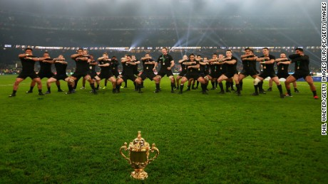 The All Blacks perform the haka after winning the 2015 World Cup final.