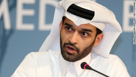 Hassan al-Thawadi, head of the Qatar 2022 World Cup organising committee, speaks during a press conference to defend the controversial proposal of the FIFA, the football's ruling body, to shift the 2022 World Cup from the normal summer time slot to November/December on February 25, 2015 in Doha. Valcke said that European football clubs would not receive financial compensation for the 2022 World Cup being moved to November-December.    AFP PHOTO / KARIM JAAFAR ===QATAR OUT ===        (Photo credit should read KARIM JAAFAR/AFP/Getty Images)