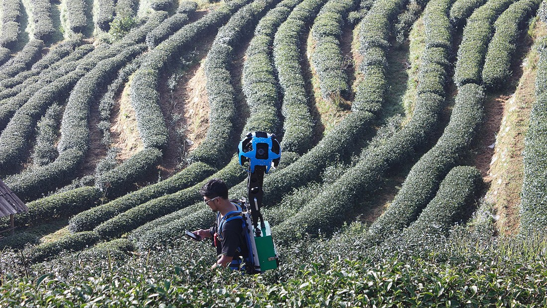 "Thailand triathlete Panupong Luangsa-ard traveled 12,000 kilometers through Thailand wearing Google Street View's ""Trekker"" camera. ""The tea plantations in Chiang Mai were a real highlight because the views are the most stunning I've ever seen,"" he tells CNN."