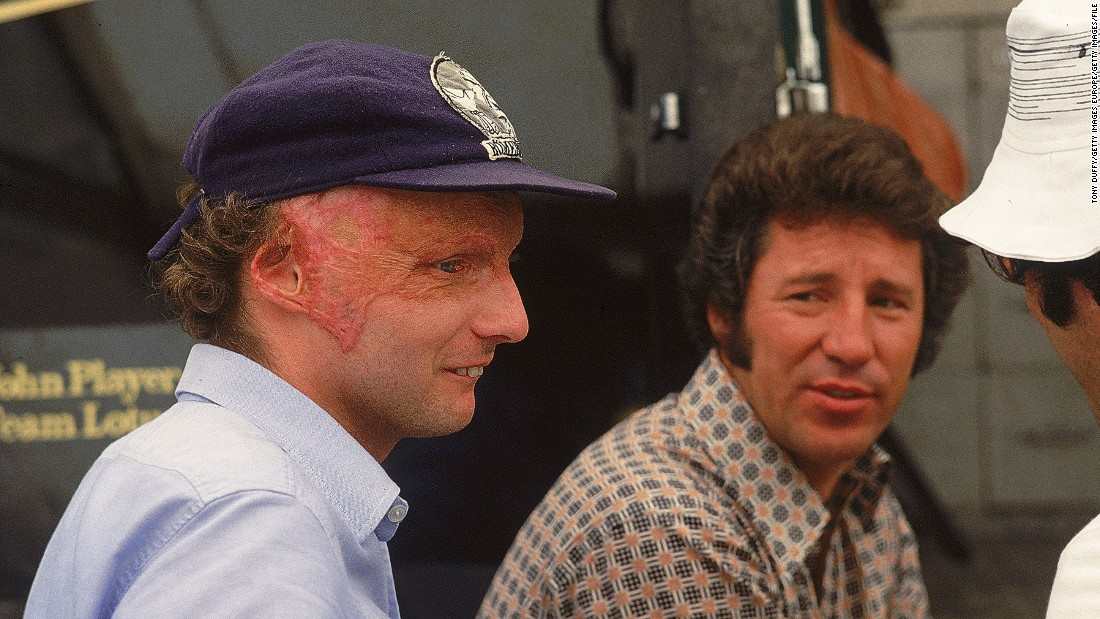 """Andretti was active in F1 during one of its darkest safety periods. Here, Andretti is seen with Austrian driver Niki Lauda at Monza. Despite horrendous burns and scarring, Lauda made an incredible comeback to racing just six weeks after nearly losing his life in a crash at the Nurburgring during the 1976 German Grand Prix. """"As drivers we had to organize, to make certain demands because nobody would volunteer a safety feature on a racing car because almost every safety feature was a performance penalty."""""""