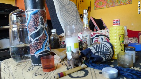 Paraphernalia used in the ayahuesca therapy session.