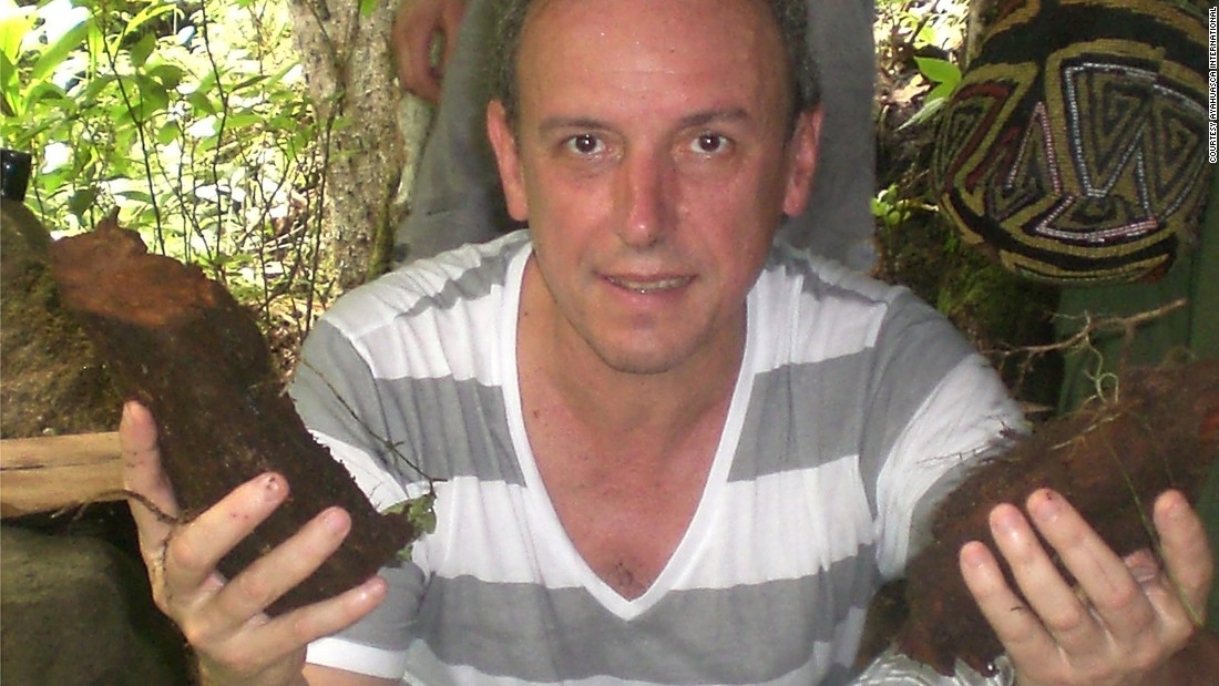 Ayahuasca International, whose founder Alberto Jose Varela is pictured here holding pieces of Banisteriopsis caapi vine, currently has 50 staff members operating in 10 countries.
