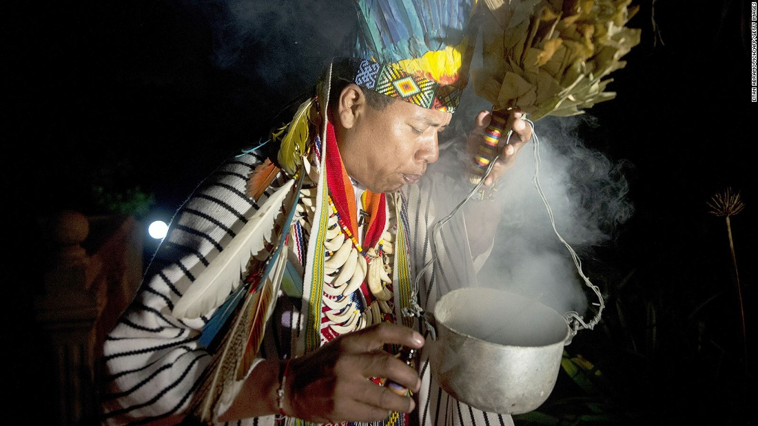 Traditional Amazonian ayahuasca ceremonies, like this one in Colombia, use a hallucinogenic plant as part of a spiritual healing ritual.