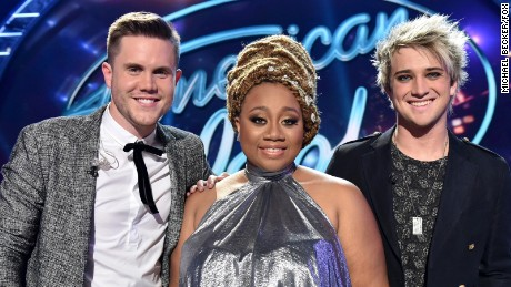 "Trent Harmon, left, La'Porsha Renae and Dalton Rapattoni are the three finalists on ""American Idol."""