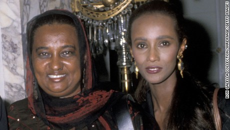 Iman, right, with her mother in 1989.