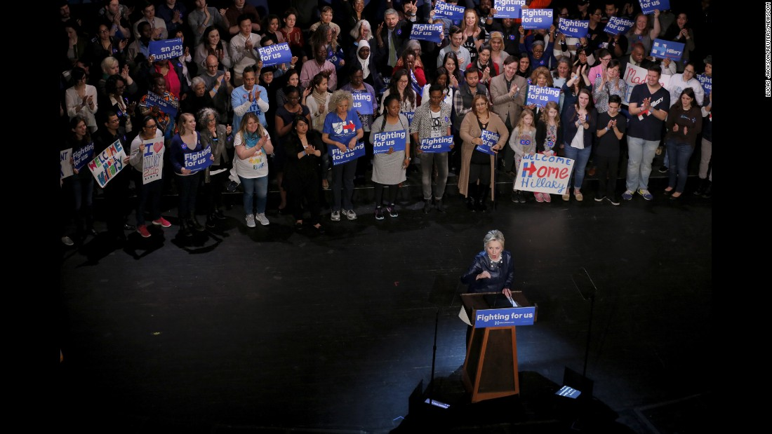 Democratic presidential candidate Hillary Clinton speaks at the Apollo Theater in New York during a campaign rally on Wednesday, March 30.