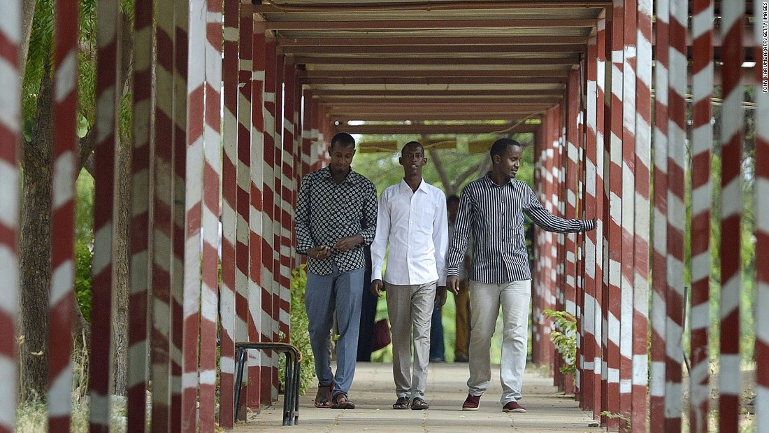 Students walk down a corridor at the school.  It is the only institution of higher learning in the region and opened in 2013.
