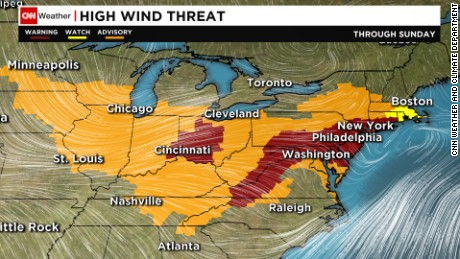 The National Weather Service has issued high wind warnings for portions of the Northeast and Midwest.