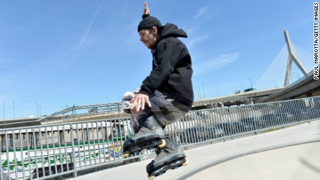 A rollerblader takes advantage of the fair weather on Boston earlier this week.
