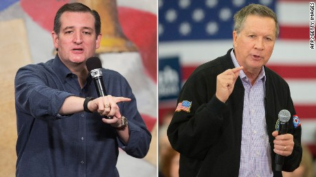 Texas Sen. Ted Cruz (left) and Ohio Gov. John Kasich