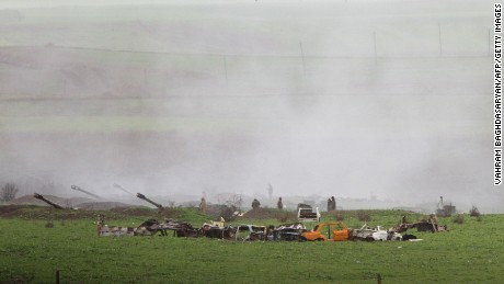 Armenian artillery units are seen in Martakert, Nagorno-Karabakh, on Sunday.
