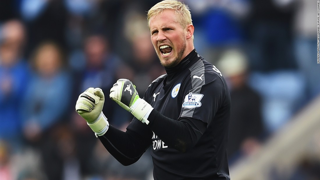 Leicester goalkeeper, Kasper Schmeichel, reacts at the full time whistle.