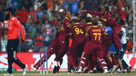 The West Indies celebrate victory after Carlos Brathwaite hit the winning runs during the ICC World Twenty20 final against England.