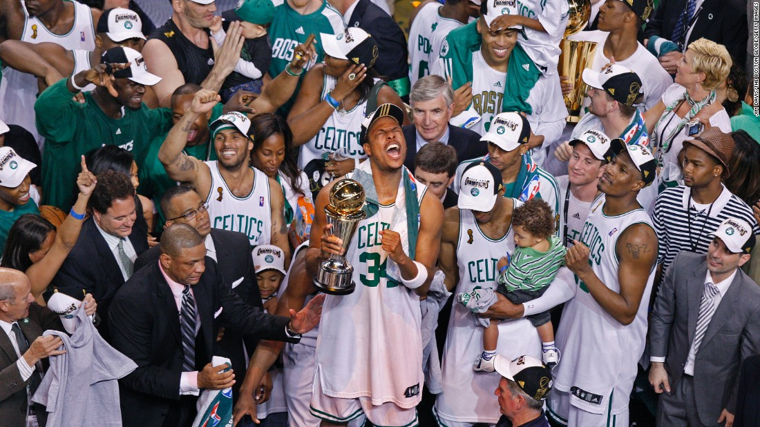 The Boston Celtics celebrate after winning the NBA championship in June 2008. It was the 17th title for the Celtics -- the most in league history. Take a look back at some of the greatest records set in the NBA Finals.