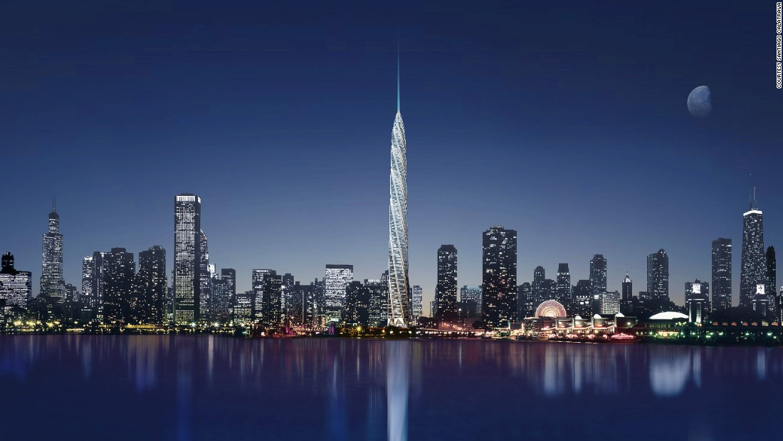 How different Chicago's skyline would have looked if Calatrava's 2005 design had been built. One thousand four hundred and fifty eight feet (444 meters) of slender twisted steel and glass, the Chicago Spire would have knocked the Willis Tower (formely the Sears Tower) down a peg, trumping it by a whole two meters and a whole lot of style.