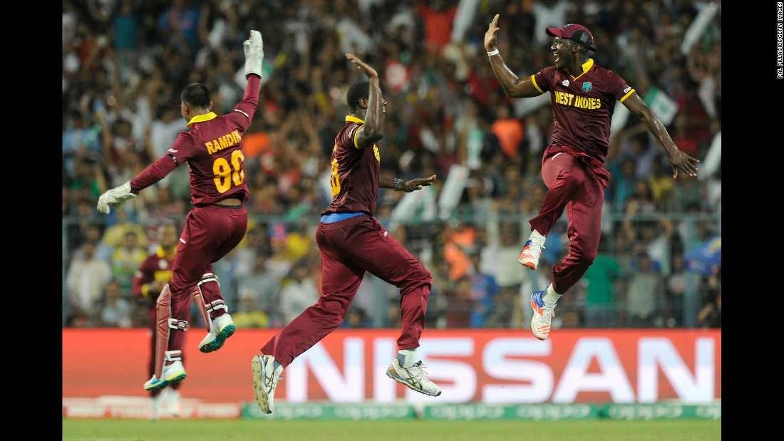 "Cricket players from the West Indies celebrate during the final of the World Twenty20, which they won Sunday, April 3, in Kolkata, India. The ""Windies"" defeated England for their second Twenty20 title."