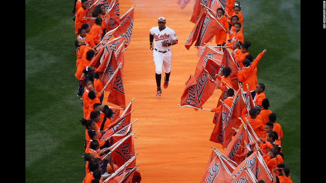 Adam Jones is introduced before the Baltimore Orioles' Opening Day baseball game on Monday, April 4.