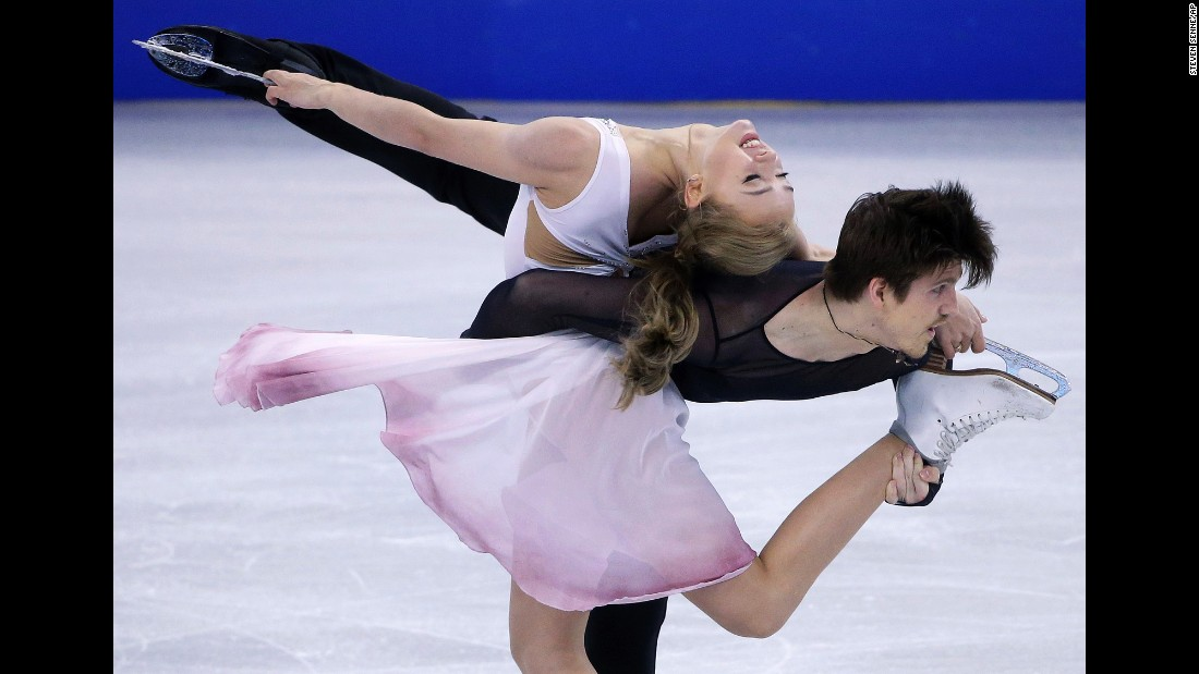 Russian ice dancers Alexandra Stepanova and Ivan Bukin compete at the World Figure Skating Championships in Boston on Thursday, March 31.