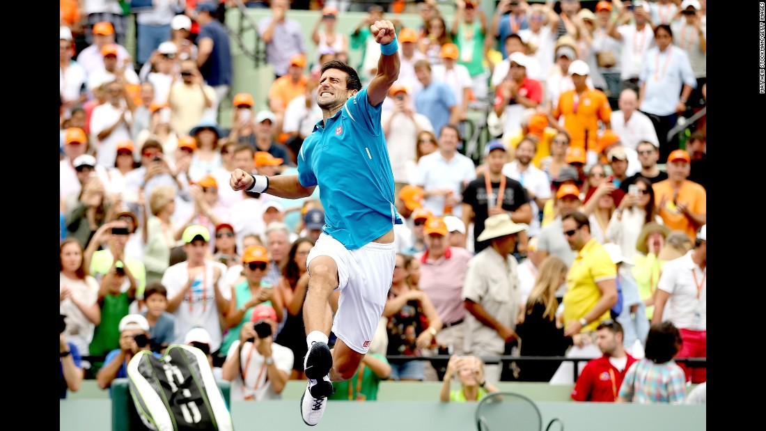 Novak Djokovic jumps for joy after defeating Kei Nishikori in the final of the Miami Open on Sunday, April 3. It is the sixth Miami Open title for Djokovic, the world's top-ranked tennis player.