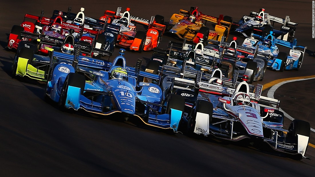 IndyCars line up before the start of the Phoenix Grand Prix on Saturday, April 2.
