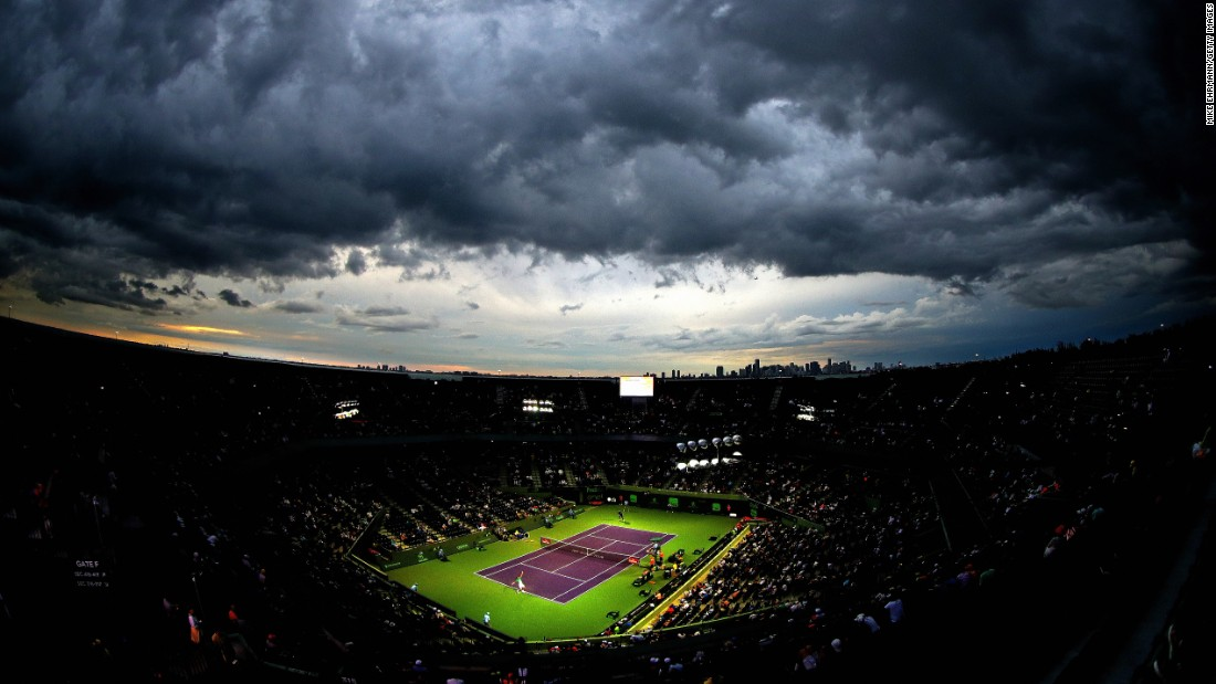 "Clouds hover over a tennis court in Key Biscayne, Florida, during a Miami Open match on Tuesday, March 29. <a href=""http://www.cnn.com/2016/03/29/sport/gallery/what-a-shot-sports-0329/index.html"" target=""_blank"">See 28 amazing sports photos from last week</a>"
