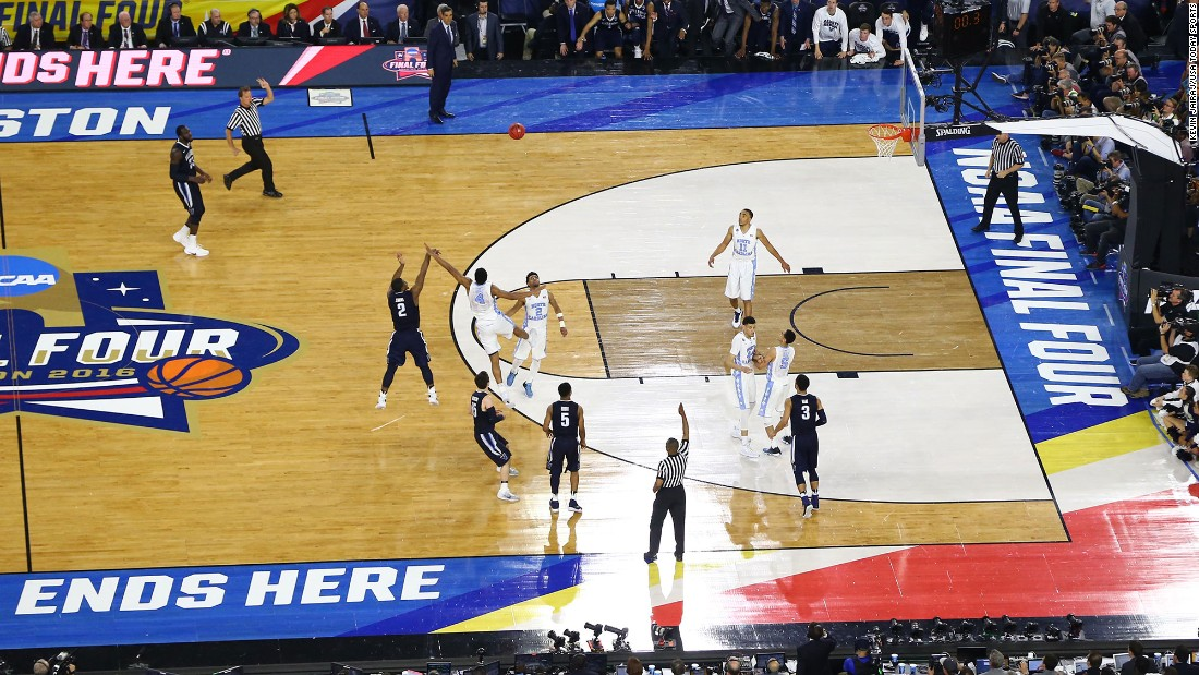 Villanova's Kris Jenkins shoots a buzzer-beating 3-pointer to defeat North Carolina 77-74 in the NCAA Tournament final on Monday, April 4. It is the second national title in Villanova history. The Wildcats also won it all in 1985.