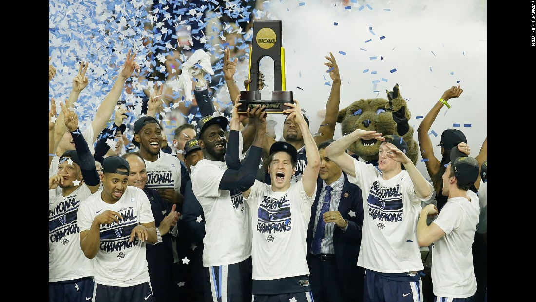 Villanova players celebrate after defeating North Carolina in the NCAA tournament final on Monday, April 4. The Wildcats won 77-74 on a buzzer-beating 3-pointer by junior forward Kris Jenkins.