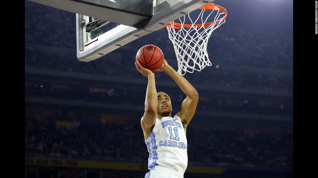 Brice Johnson goes up for an easy Tar Heels basket.