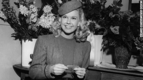 "Doris Day in her dressing room on the set of ""Romance on the High Seas"" in 1947."