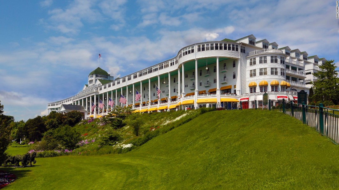 The Grand Hotel on Michigan's Mackinac Island opened in 1887. It was the result of a partnership between two railroads and a steamship navigation company.