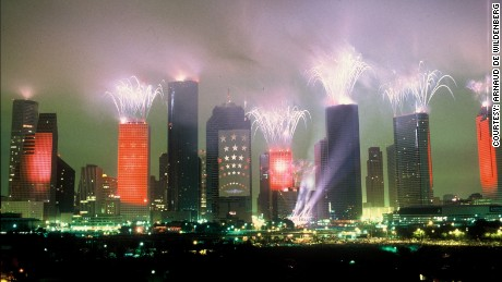 Fireworks explode off Houston's skyscrapers during Jean-Michel Jarre's record-breaking show.