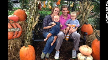 Alex Small with his wife and two children.