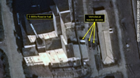 Vehicle activity can be seen around the 5 MWe reactor.