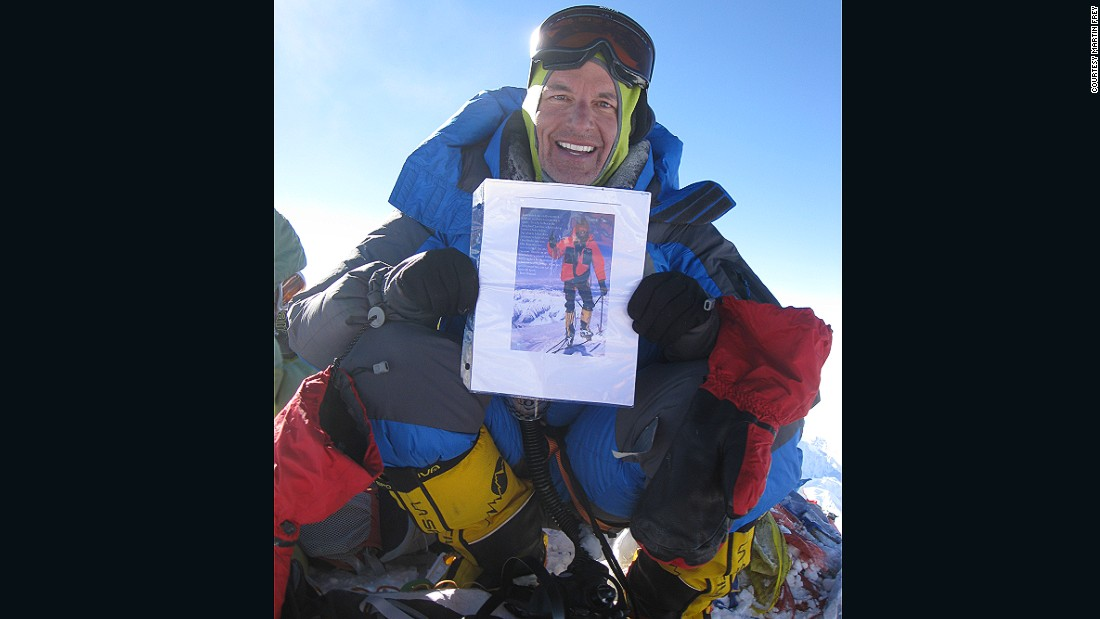 Frey got the idea from his climbing partner, Steve Gasser, who joined him up Denali but passed away soon after. Now, Frey carries a picture of his friend on all his adventures.