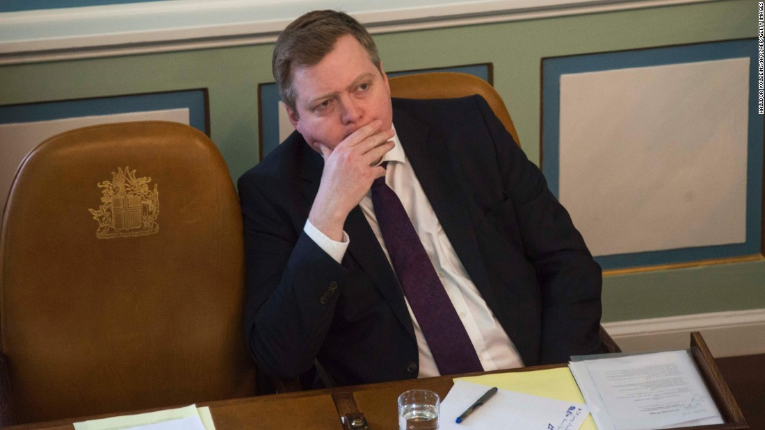 "Icelandic Prime Minister Sigmundur David Gunnlaugsson announced he was stepping down amid mounting protests and calls for his resignation after leaked documents from a Panamanian law firm revealed his links to an offshore company.<br /><a href=""http://cnn.com/2016/04/05/europe/panama-papers-iceland-pm/""><br />Iceland swears in new PM amid Panama Papers fallout</a>"