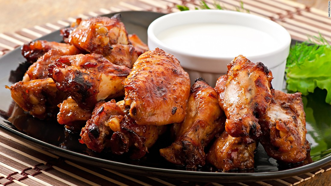 Just five chicken wings have about 475 calories. A 150-pound person could burn that off in about 60 minutes of jogging.