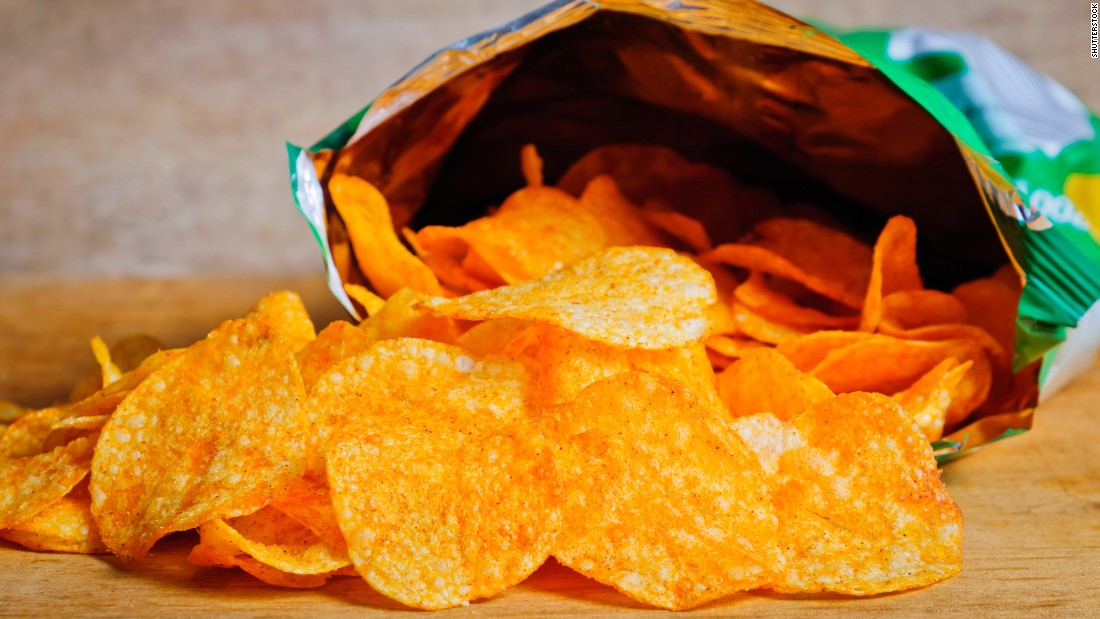 A small bag of potato chips has about 155 calories, which could come off with about 30 minutes of jumping jacks.