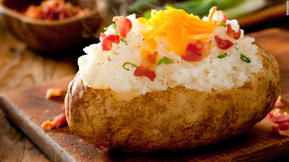 A baked potato has about 160 calories -- and that doesn't include all the gooey, crunchy toppings. With 30 minutes of pushups, you could break even.