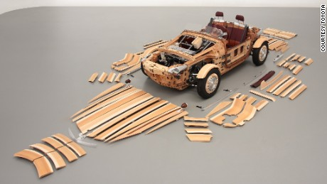 The car is built using 86 wooden panels